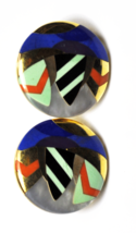 Asch Grossbardt 14k Zig Zag Modern Inlay Abstract Round Omega Earrings 27mm - $1,979.99