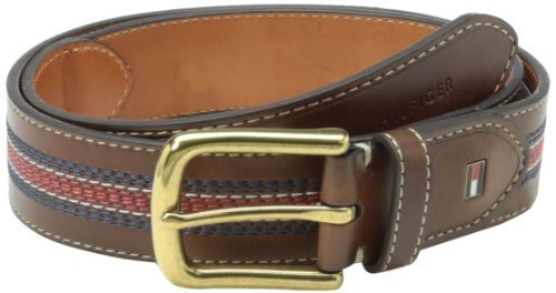 Tommy Hilfiger Men's Casual Belt, Tan/Navy/Red, 34