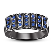 Mens Blue Sapphire Anniversary Ring Band 14k Black Gold Over 925 Sterlin... - $93.73