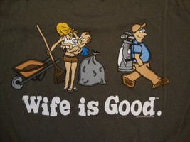 Wife is Good Funny Golfing Husband Comic Sexy Marriage dark green T Shirt L  - $14.84