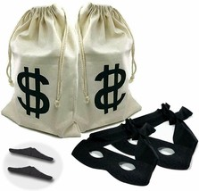 2 set Canvas Money Bag Pouch with Drawstring Closure and Dollar Sign Des... - $24.30
