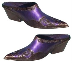 Donald Pliner Western Couture Boot Mule Shoe New 6 Cobra Snake Metallic $320 NIB - $144.00