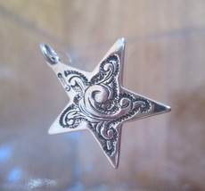 Sterling Silver Bracelet Charm 5 POINT STAR, Engraved 1960s Solid 3D  - $54.45