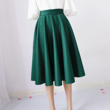 Women SUEDE Circle Skirt Autumn Winter SUEDE Midi Party Skirt, Camel Black Green image 9