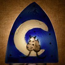 Fused Art Glass Cats on Cuddle Moon Nightlight Night Light Handmade in Ecuador image 7