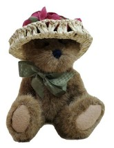 """Boyds Teddy Bear Jointed 8"""" Stuffed Animal Toy Brown Straw Hat Green Bow - $21.55"""