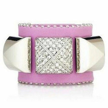 Juicy Couture Bracelet Crystal Pyramid Leather Cuff NEW - $47.52