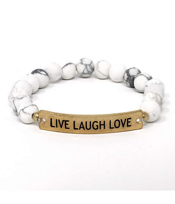 Primary image for LIVE LAUGH LOVE Semi Precious Stone Beads Bracelet Bangle NEW