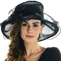 ICSTH Womens Kentucky Derby Summer Wide Brim Organza Church Party Hats B... - $35.57