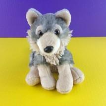 "Wild Republic Plush Wolf 8"" Stuffed Animal Bean Bag 2017 Gray Tan - $11.88"