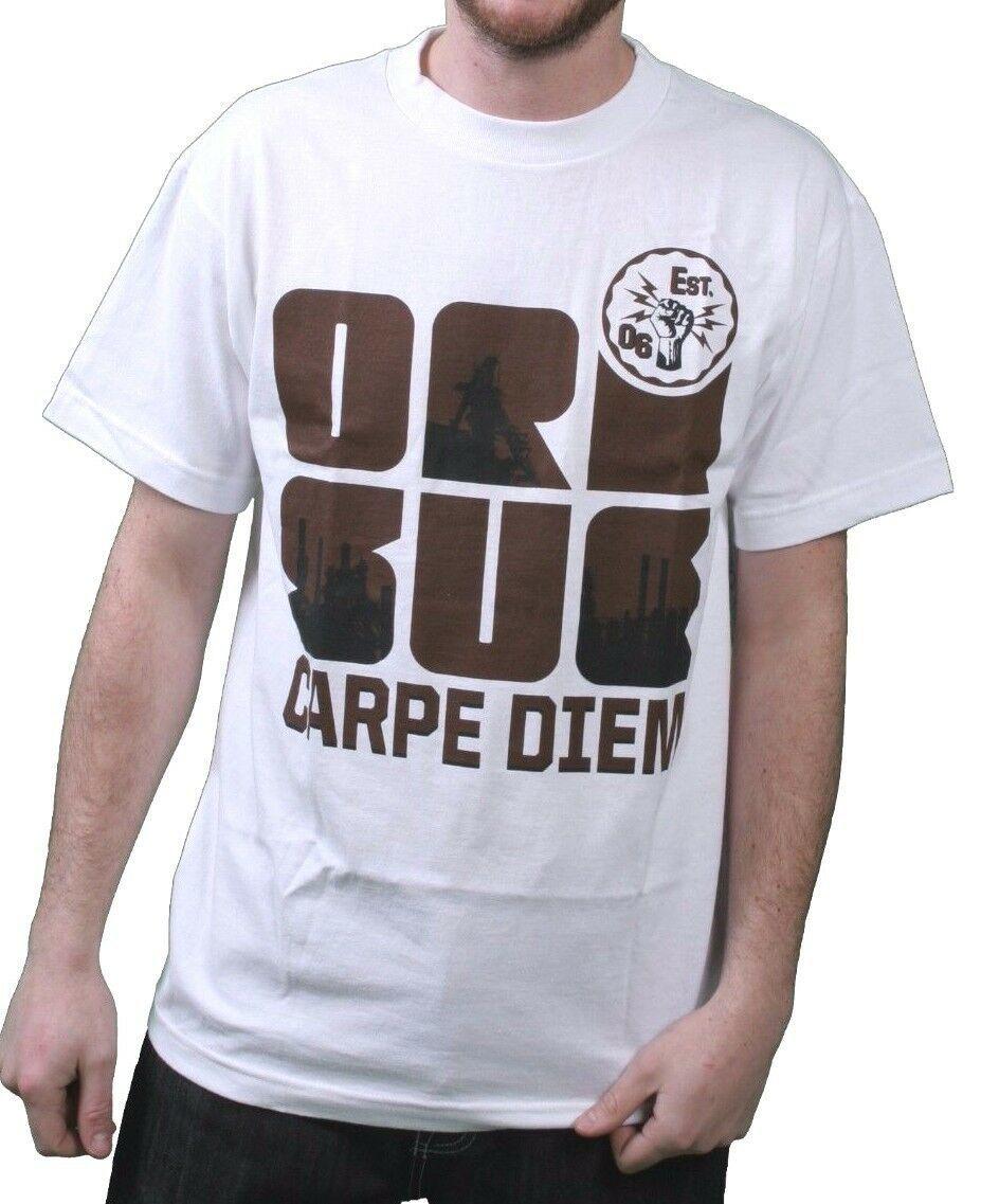 Orisue Mens White Brown Black Carpe Diem Union Working Industry T-Shirt NWT