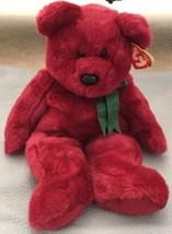 "TY Beanie Buddy ""Teddy"" Retired 14"" Cranberry Bear Green Bow w/Tags 1998 Plush - $12.86"