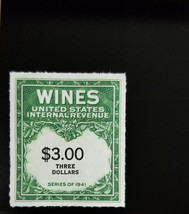 1942 $3 U.S. Internal Revenue Cordial & Wine, Green Scott RE154 Mint F/V... - $8.99