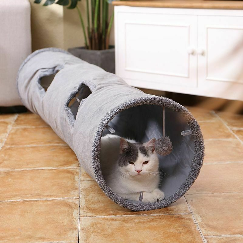 Collapsible Cat Tunnel Crinkle Kitten Play Tube For Large Cats Dogs Bunnies Toy  image 2