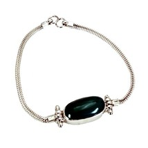 Real Green Onyx 925 Silver Friendship Bracelets For Women Spring ring L ... - $46.23