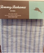 Tommy Bahama Bahama Breeze Stripe Sky Blue Cotton Percale Sheet Set King - $120.00