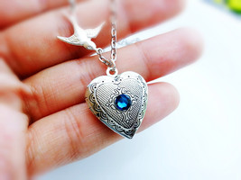 Silver Heart Locket Silver Sparrow Birthstone Necklace Silver Heart Locket - $36.00