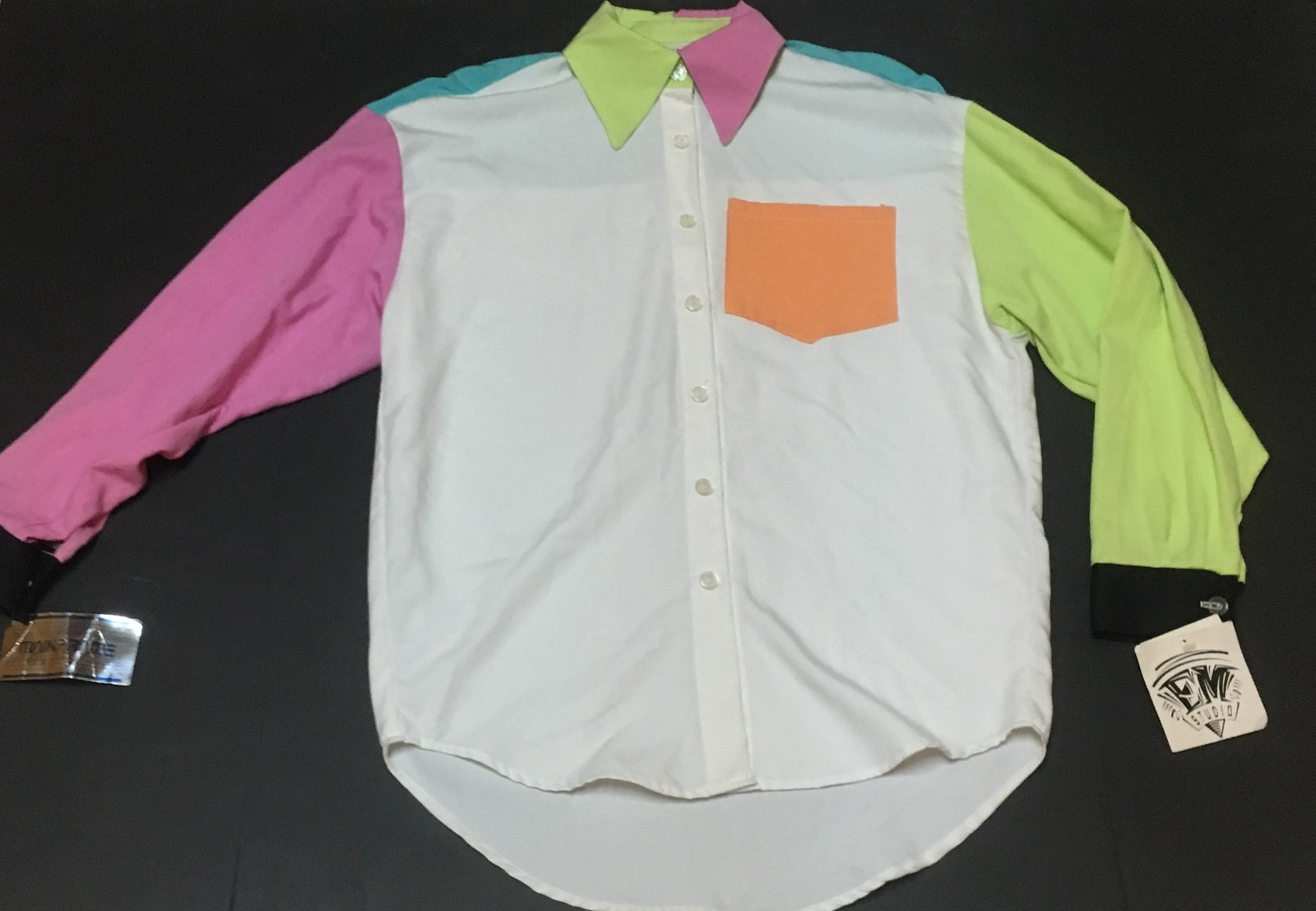 EM Studio Multi-Color Long Sleeve Blouse Top SZ M Made in USA