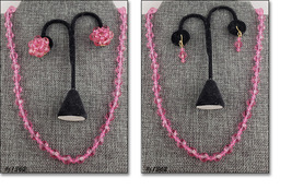 Vintage Pink Glass Bead Necklace and 2 Pairs Of Earrings (#J1362) - $48.00