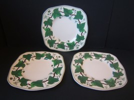 """Wedgwood Napoleon Ivy Square Luncheon Plate Set of 3 8.5"""" A L 4751 Green - $230.60"""