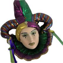Vtg Clay Theater Mask Jester Mardi Gras Metallic Wall Decor Matte  - $29.88