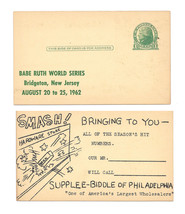 UX27 Postal Card Advert Supplee Biddle Phila PA Babe Ruth Bridgeton NJ C... - $9.95