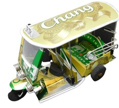 TUK TUK model made from tins Chang Beer handmade Thailand Taxi 6x3x2 inch - $19.99