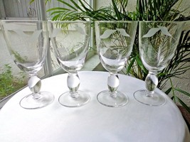 Set of 4 Frosted Etched Clear Crystal Water Glasses - $33.66