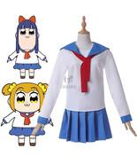 POP TEAM EPIC Popuko Pipimi Cosplay Costume Blue White School Uniform + Headwear - $33.99