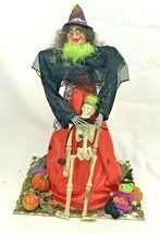 Ugly Witch Figure Large Halloween Decoration Skeleton Scary Spider Diora... - $74.24