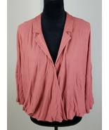 Postmark Anthropologie women M/L rose collared v-neck top batwings faux ... - $41.15