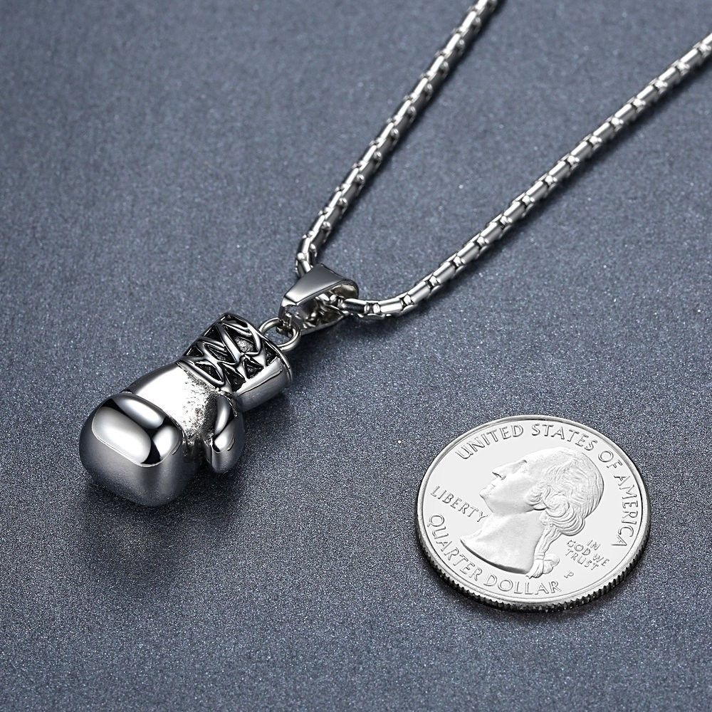 Men's Stainless Steel Boxing Glove Biker Pendant Necklace, 23'' Link Chain, ddp0