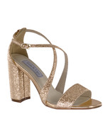 Micah Rose Gold Block High Heel Women's Formal Bridal Bridesmaid Sandal ... - €63,87 EUR
