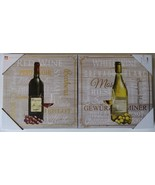WINE Theme CANVAS ART PRINT 2pc Set Wall Picture Tuscan Grapes Glass 18x... - $24.99