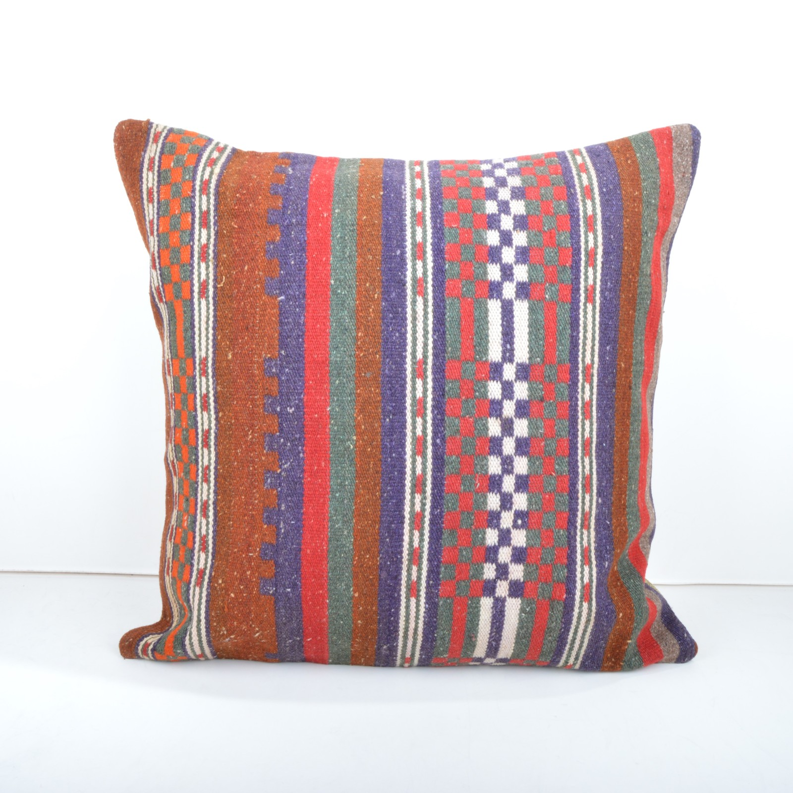 Primary image for  VINTAGE TURKISH HANDWOVEN STRIPED KILIM RUG DECORATIVE PILLOW COVER 20x20''