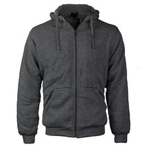 vkwear Men's Athletic Soft Sherpa Lined Fleece Zip Up Hoodie Sweater Jacket (Med