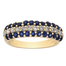 0.50 Carat Round Cut Sapphire and 0.20 Carat Diamond Band 14K Yellow Gold - $342.54
