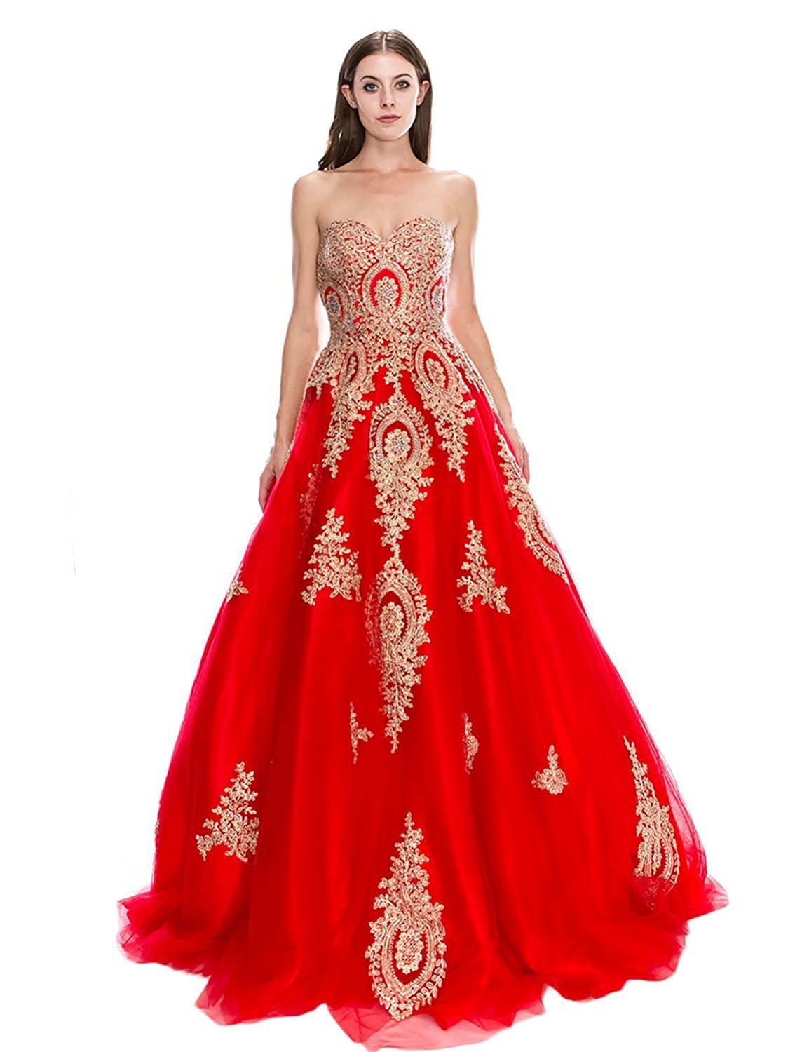 Women's Tulle Strapless Long Evening Dress A Line Applique Formal Prom Gown