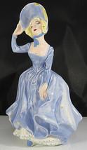 Vintage Woman Blue Dress Porcelain Ceramic Figurine hand Painted Nerther... - $30.00