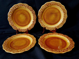 """Set of 4 PIER 1 Hand Painted Earthenware 8.5"""" Elegant and Glossy Nice Plates - $29.69"""