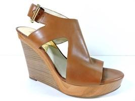 MICHAEL KORS Josephine Platform Wedge Sandals Leather Peep-toe Shoes Lug... - $49.45