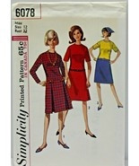 Vintage 1960s Simplicity Sewing Pattern 6078 Dress Skirt Variations Size... - $16.19