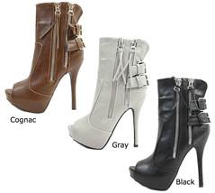 New Wild Diva Sonny-208 Platform Dress Zip Up Peep Toe High Heel Booties 6-10 - $24.99