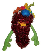 C6 * Deluxe Custom Sparkly Red Monster w/Rainbow Hair Sock Puppet * Cust... - $10.00