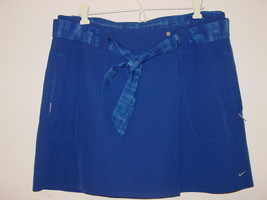 Nike Golf Dri-Fit blue two piece short skirt skort cover up belted plaid-10-NEW - $37.19