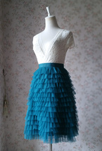 DEEP GREEN High Waist Knee Length Tiered Tulle Skirt Wedding Party Tulle Skirts image 3