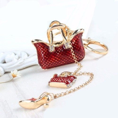 Key Ring Keychain Fashion Purse High Heel Shoes Two Bags Design Gift For Women