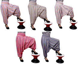 5Pcs Striped Harem Pants Girls Hippie Trousers Aladdin Hobo Gypsy Wholes... - $35.99