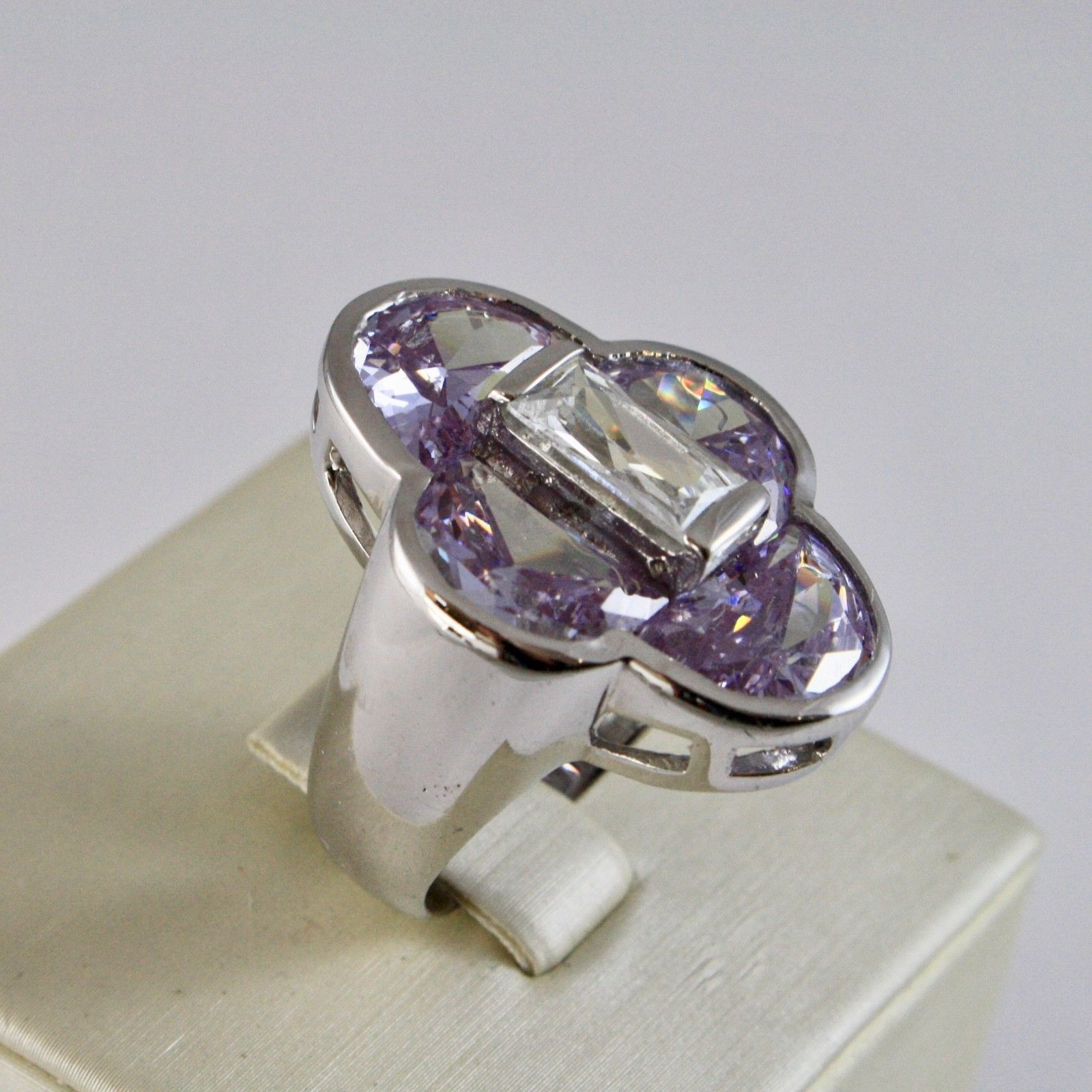 925 SILVER RING RHODIUM WITH WITH CRYSTALS PURPLE AND CRYSTAL CLEAR