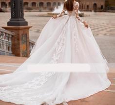 New Elegant Appliques Court Train Princess Bridal Gown Scoop Neck Full Sleeve Tu image 2
